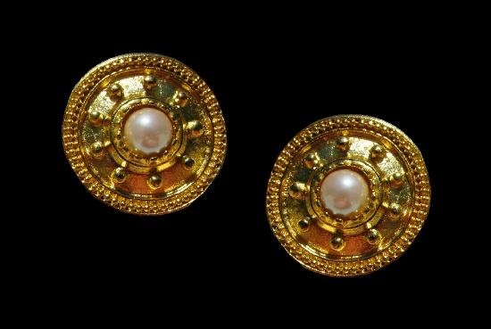Nautical gold tone faux pearl clip on earrings
