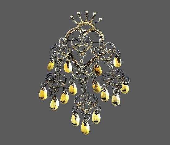 Norway Soljé crowned heart brooch pendant. Sterling Silver