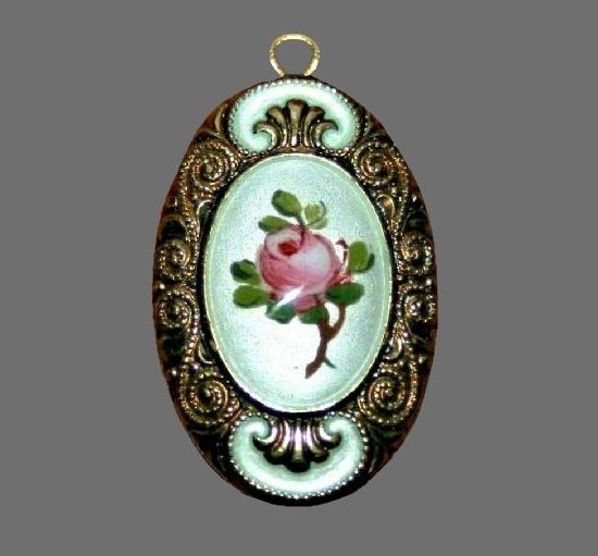 Oval shaped rose pendant. Sterling silver, enamel