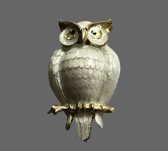 Owl brooch pin. Silver, white enamel