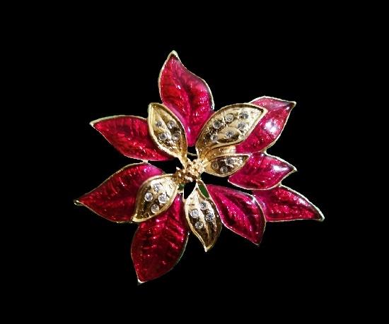 Poinsettia Christmas brooch. Metal alloy, rhinestones, enamel