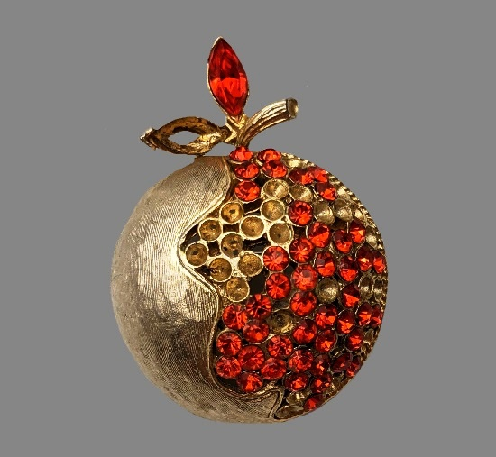 Pomegranate half peeled brooch. Gold tone, rhinestones