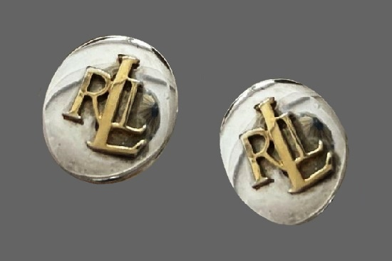 RLL initials gold and silver tone clip on earrings
