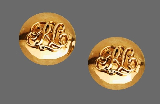 RLL logo gold tone clip on earrings