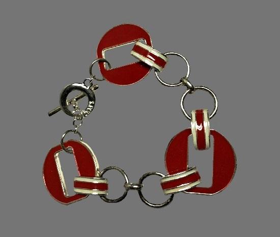 Red and white enamel silver tone bracelet