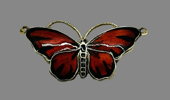 Red butterfly pendant. Sterling silver, enamel