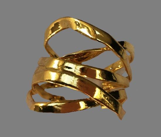 Ribbon gold tone cuff bracelet