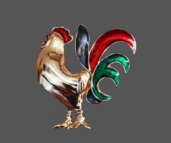 Rooster brooch. Gold tone, red,green and blue enamel