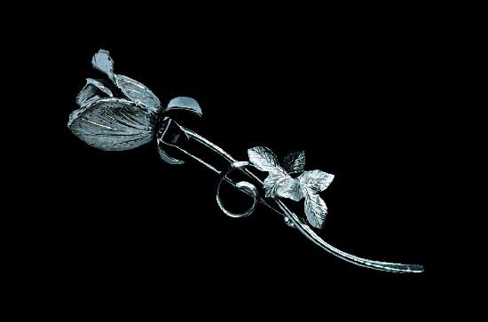 Rose flower 925 sterling silver brooch. 6.7 cm