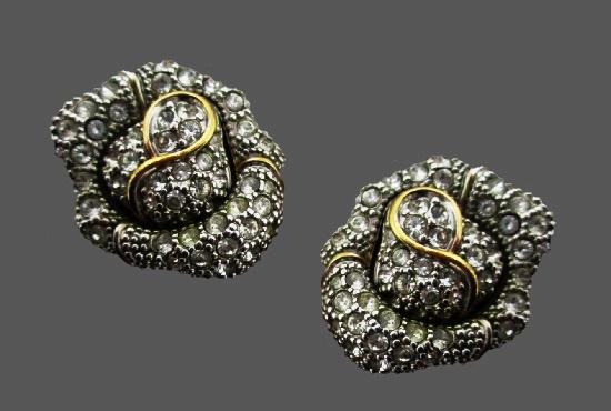 Rosebud clip on earrings. Gold tone, rhinestones
