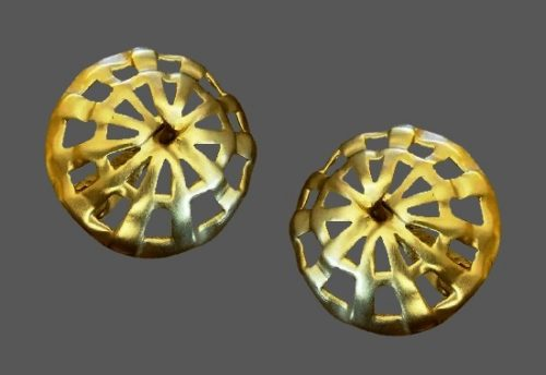 Round shaped gold tone clip on earrings