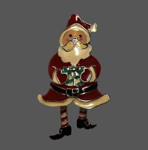 Santa Claus with moving legs Christmas pin brooch. Silver tone, enamel