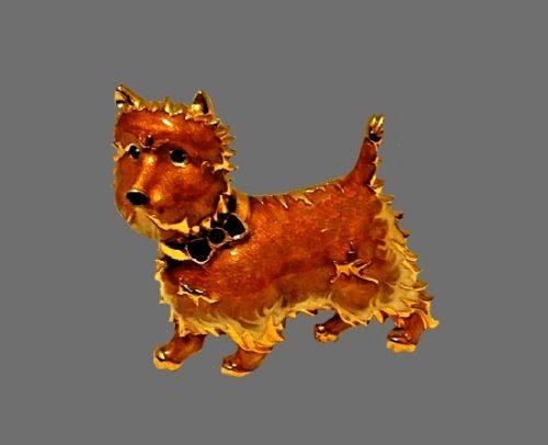 Scotty dog brooch. Gold tone metal, enamel, rhinestones. 1990s