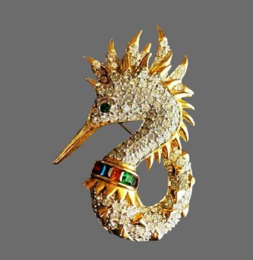 Sea horse gold tone clear rhinestones, art glass brooch