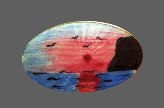 Seascape design oval shaped brooch pin. Sterling silver, enamel