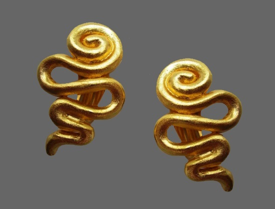 Serpent design gold-plated clip on earrings