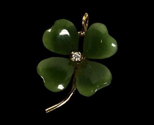 Shamrock clover pendant. Gold plated sterling silver, diamond, jade. 1987