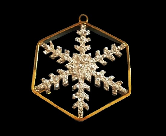 Snowflake pendant. Gold plated sterling silver, crystals. 1977