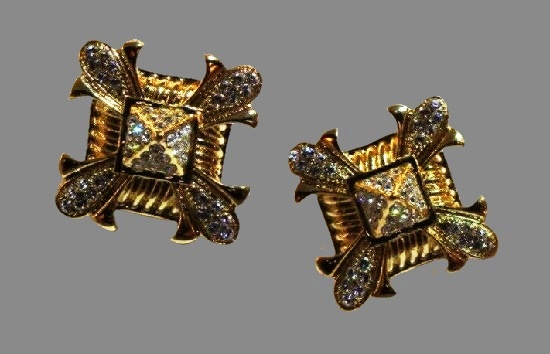 Square shaped yellow gold crystal clip on earrings