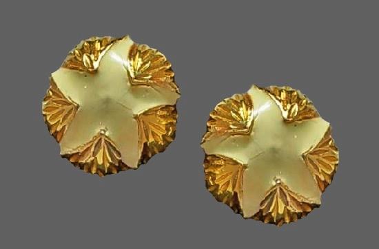 Starfish design clip on earrings. Gold tone, enamel