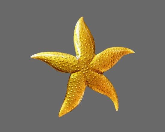 Starfish sterling silver enamel brooch. 7.5 cm