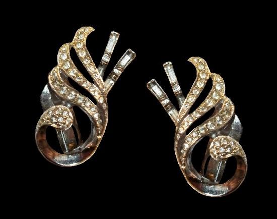 Sterling silver rhinestones clip on earrings