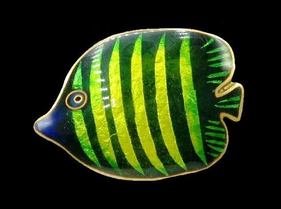 Striped fish brooch. Champleve enamel