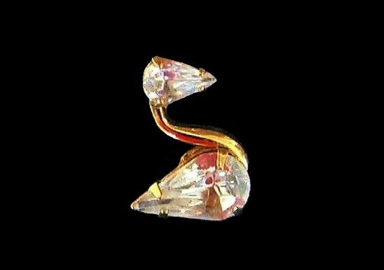 Swan pin. Gold tone, Austrian crystals
