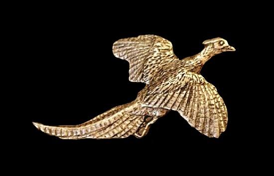 Grouse bird vintage lapel pin. Pewter