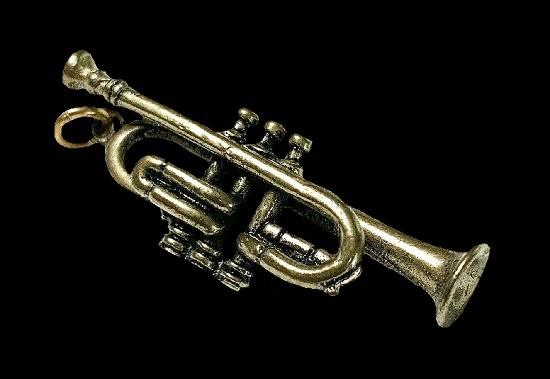 Trumpet pendant charm of bronze tone. 1980s