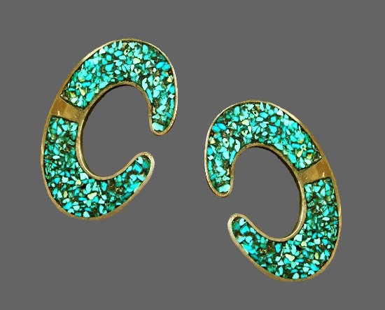 Turquoise inlay silver tone clip on earrings