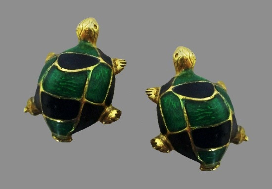 Turtle clip on earrings. Gold tone metal alloy, blue and green enamel
