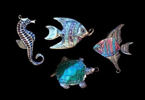 Turtle, seahorse, fish marine theme sea creatures charms. Silver tone metal, enamel