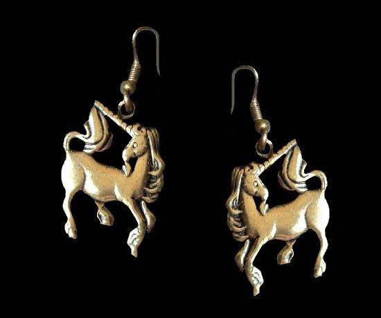 Unicorn gold tone earrings
