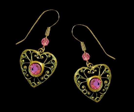 Victorian style heart shaped antique gold tone earrings with pink rhinestones