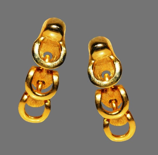Vintage CS for Asymmetry gold plated dangle clip on earrings