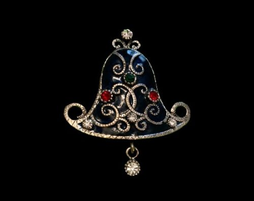 Vintage Christmas bell brooch. Metal alloy, rhinestones, enamel