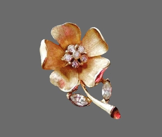 Vintage signed Francois flower brooch. 1 1.4 inches long by 7.8 inch wide