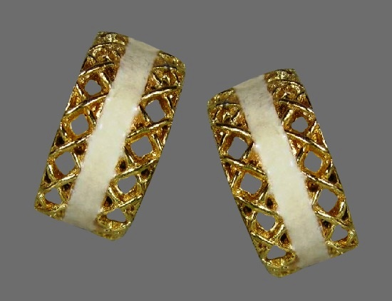 White and gold hoop design vintage clip on earrings
