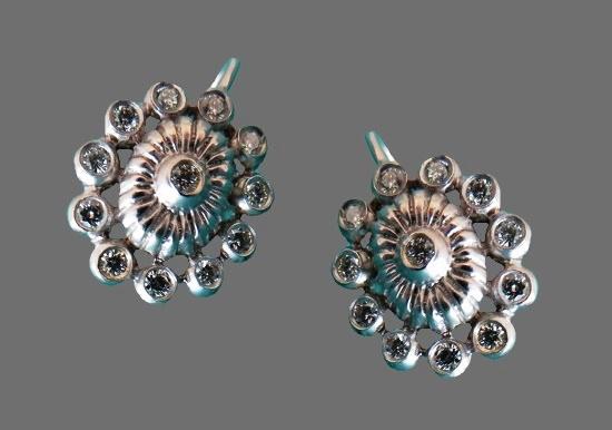 White gold diamonds floral design earrings. 1993