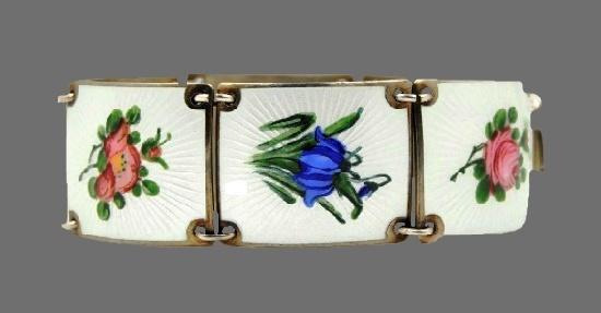 Wild roses, bluebells, rose and violets enameled silver bracelet. 1950s