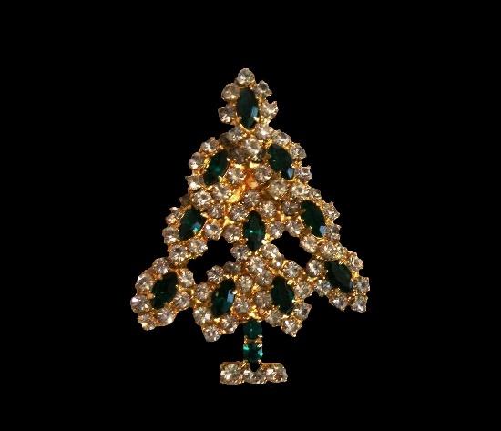 X-mas tree brooch pin. Black and clear rhinestones, gold tone