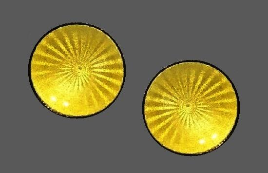 Yellow guilloche enamel sterling silver round earrings