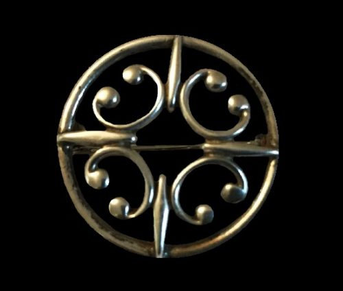 1980s Celtic design sterling silver brooch