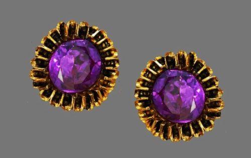 Amethyst gold tone vintage clip on earrings