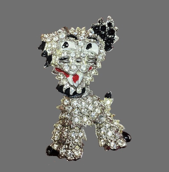 Articulated Dog pin. Black and white rhinestones, enamel, metal alloy