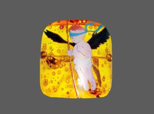 Artist Naoto Taniuchi, Angel brooch made in 'Makie' technique of painting. Amber, 18 K gold