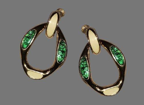 Beige and green enamel gold tone dangle clip on earrings
