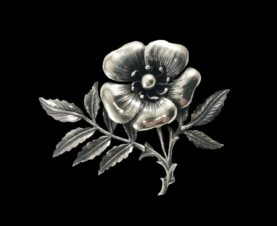 Blooming dog rose vintage sterling silver brooch