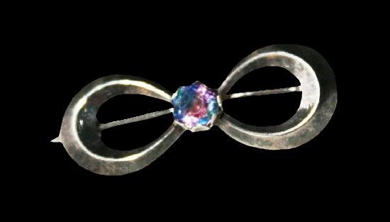 Bow sterling silver gemstone brooch pin